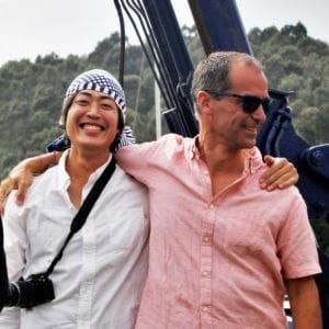 Yusei Nagashima con Borja Saracho en Bodega Crusoe Treasure
